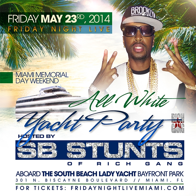 friday night live 2014 miami memorial day weekend all white yacht party on may 24 2014 in miami. Black Bedroom Furniture Sets. Home Design Ideas