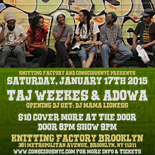 Knitting Factory Brooklyn New York : Taj weekes adowa on jan in brooklyn